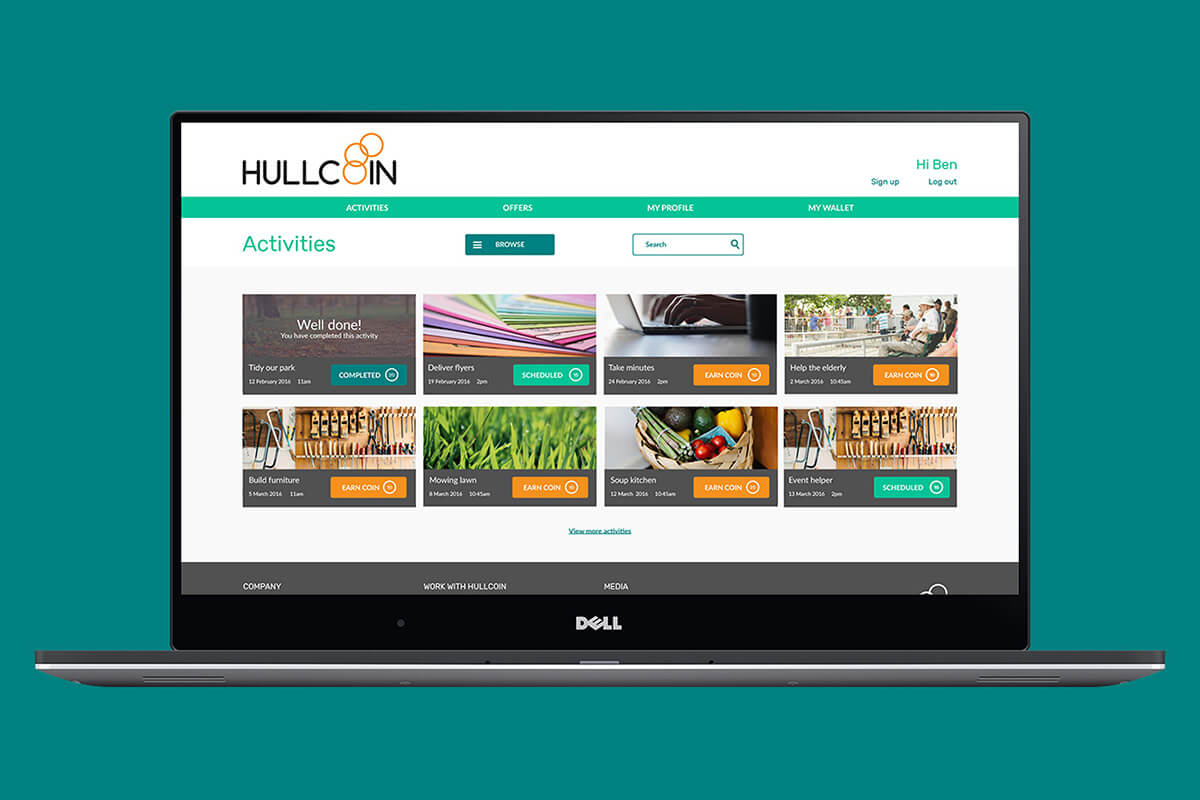 HullCoin Website Mockup – Activities page