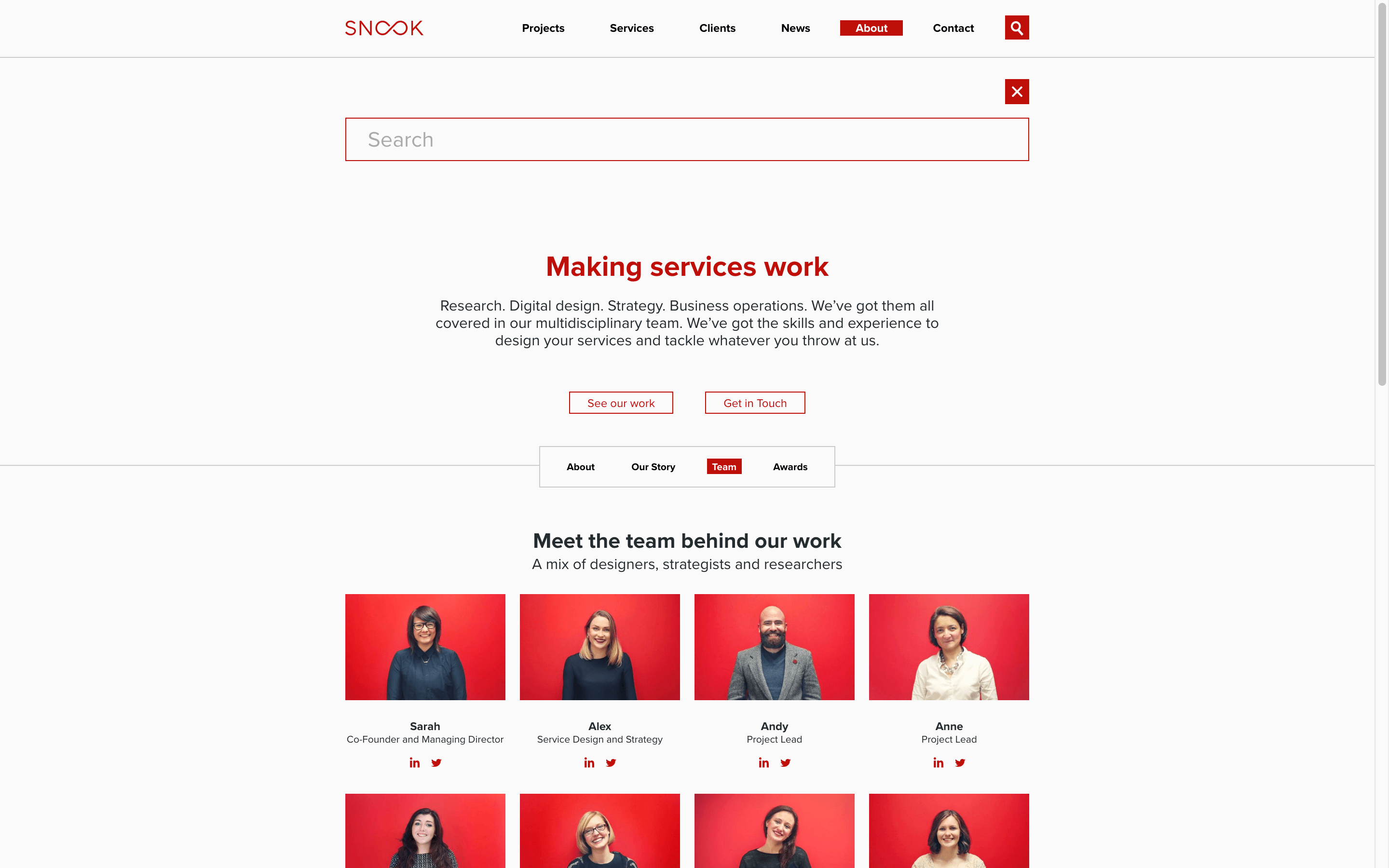 Snook Website - About page